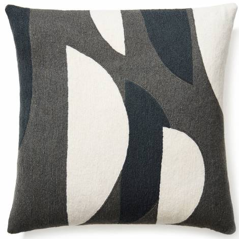 Judy Ross Textiles Hand-Embroidered Chain Stitch Slice Throw Pillow dark grey/cream/charcoal