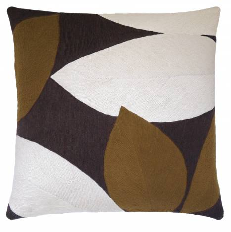 Judy Ross Textiles Hand-Embroidered Chain Stitch Spring Throw Pillow chocolate/chestnut/cream