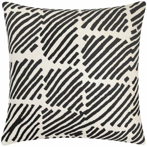 Judy Ross Textiles Hand-Embroidered Chain Stitch Static Box Throw Pillow cream/black
