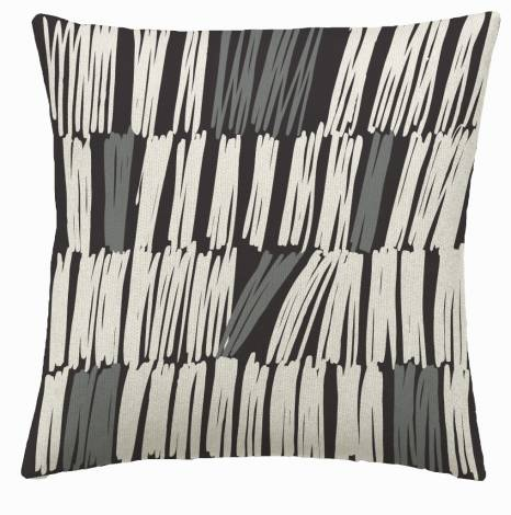 Judy Ross Textiles Hand-Embroidered Chain Stitch Static Throw Pillow charcoal/cream/dark grey