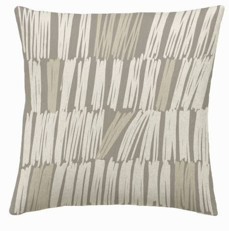 Judy Ross Textiles Hand-Embroidered Chain Stitch Static Throw Pillow smoke/cream/oyster
