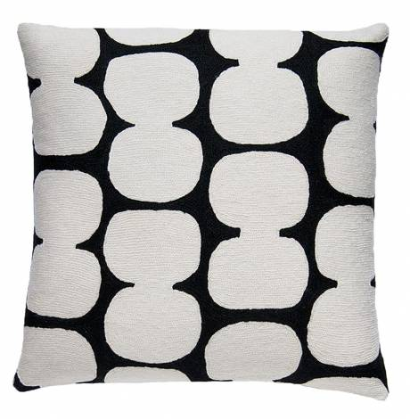 Judy Ross Textiles Hand-Embroidered Chain Stitch Tabla Throw Pillow black/cream