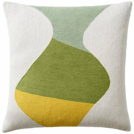 Judy Ross Textiles Hand-Embroidered Chain Stitch Totem Throw Pillow cream/celery/spring green/yellow