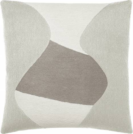 Judy Ross Textiles Hand-Embroidered Chain Stitch Totem Throw Pillow oyster/cream/smoke