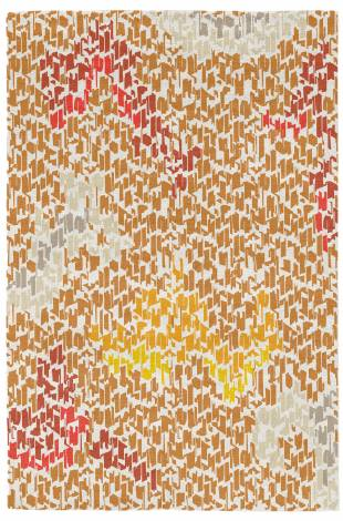Judy Ross Hand-Knotted Custom Wool Tweed Rug cream/amber/smoke/oyster/rust/red/marigold/buttercup