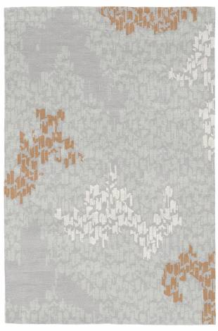 Judy Ross Hand-Knotted Custom Wool Tweed Rug fog/silver/amber/cream