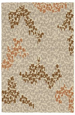 Judy Ross Hand-Knotted Custom Wool Tweed Rug oyster/smoke/chestnut/rust