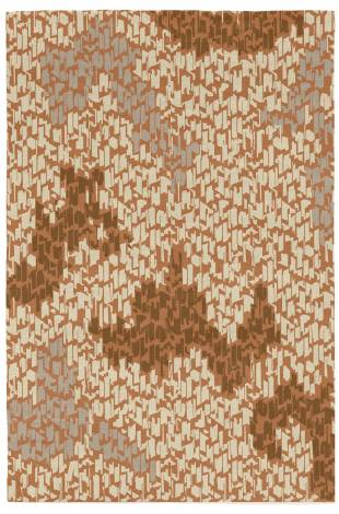 Judy Ross Hand-Knotted Custom Wool Tweed Rug rust/oyster/pecan/fog