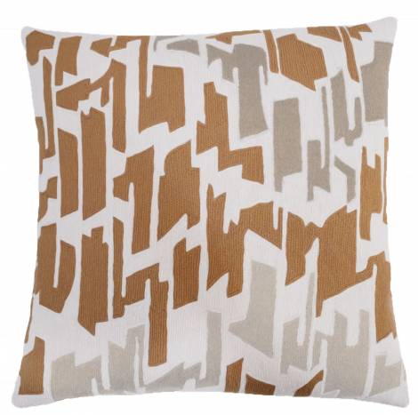 Judy Ross Textiles Hand-Embroidered Chain Stitch Tweed Throw Pillow cream/amber/smoke/oyster