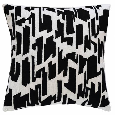 Judy Ross Textiles Hand-Embroidered Chain Stitch Tweed Throw Pillow cream/black