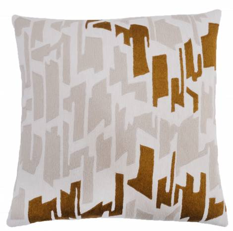 Judy Ross Textiles Hand-Embroidered Chain Stitch Tweed Throw Pillow cream/oyster/gold rayon