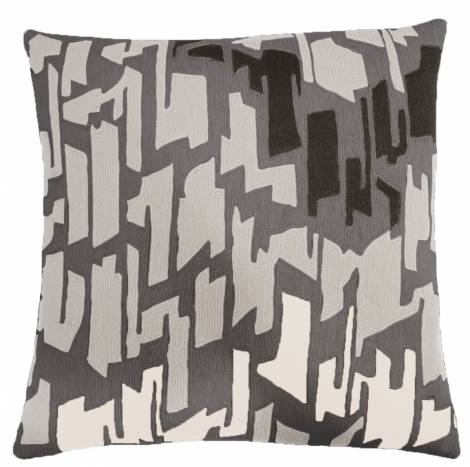 Judy Ross Textiles Hand-Embroidered Chain Stitch Tweed Throw Pillow dark grey/ice/charcoal/cream