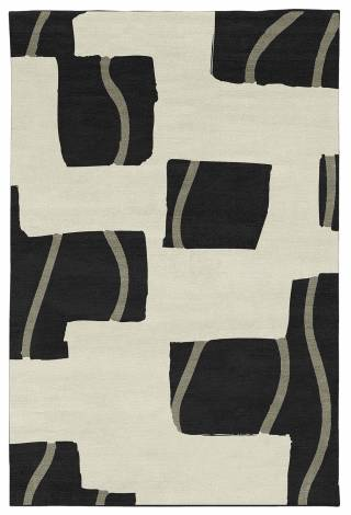 Judy Ross Hand-Knotted Custom Wool Window Rug black/cream/oyster silk