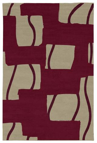 Judy Ross Hand-Knotted Custom Wool Window Rug burgundy/oyster/merlot