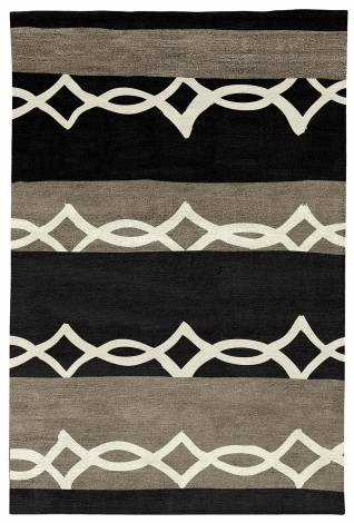 Judy Ross Hand-Knotted Custom Wool Acrobat Rug black/cream/pewter silk