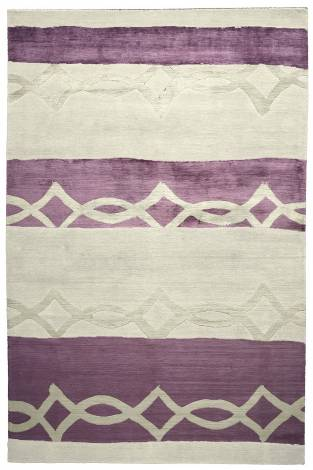 Judy Ross Hand-Knotted Custom Wool Acrobat Rug cream/grape silk/cream silk