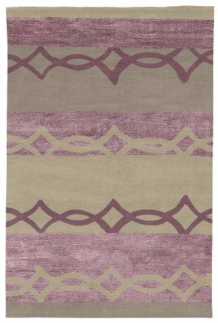 Judy Ross Hand-Knotted Custom Wool Acrobat Rug oyster/mulberry silk/smoke/mulberry