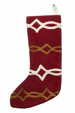 Judy Ross Textiles Hand-Embroidered Chain Stitch Acrobat Stocking rouge/cream/gold rayon