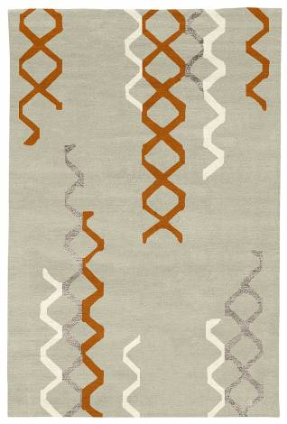 Judy Ross Hand-Knotted Custom Wool Arbor Rug parchment/melon/cream/smoke silk