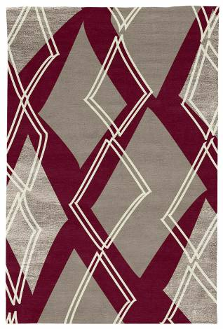 Judy Ross Hand-Knotted Custom Wool Argyle Rug berry/smoke/smoke silk/cream