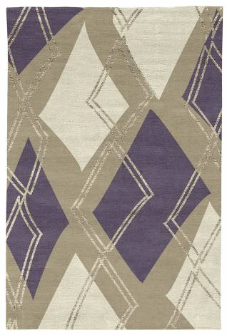 Judy Ross Hand-Knotted Custom Wool Argyle Rug oyster/grape/parchment/oyster silk