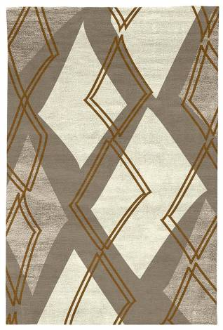 Judy Ross Hand-Knotted Custom Wool Argyle Rug pewter/parchment silk/pewter silk/auburn