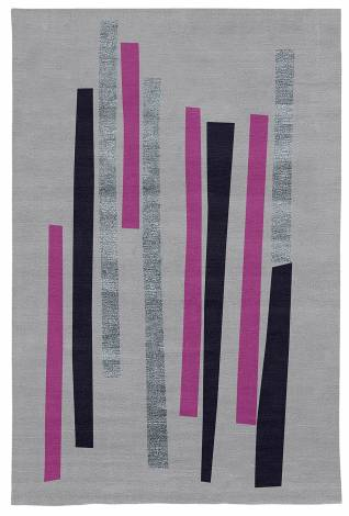 Judy Ross Hand-Knotted Custom Wool Bars Rug ice/fuschia//midnight/periwinkle silk