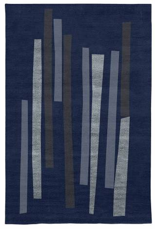Judy Ross Hand-Knotted Custom Wool Bars Rug midnight/robin/perwinkle silk/slate