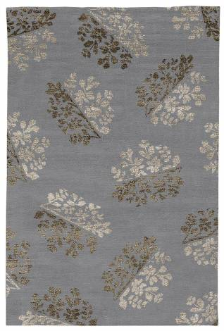 Judy Ross Hand-Knotted Custom Wool Bouquet Rug cadet/dark fig silk/smoke silk