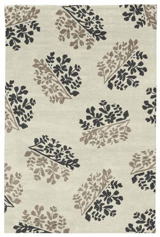 Judy Ross Hand-Knotted Custom Wool Bouquet Rug cream/black/pewter