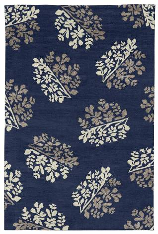 Judy Ross Hand-Knotted Custom Wool Bouquet Rug midnight/parchment/smoke silk