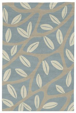 Judy Ross Hand-Knotted Custom Wool Branches Rug celadon/putty/parchment