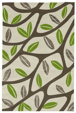 Judy Ross Hand-Knotted Custom Wool Branches Rug parchment/iron/lime/iron silk