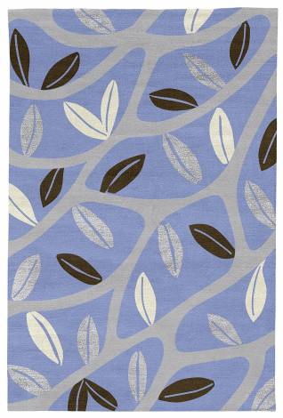 Judy Ross Hand-Knotted Custom Wool Branches Rug cornflower/ice/fig/ice silk/cream
