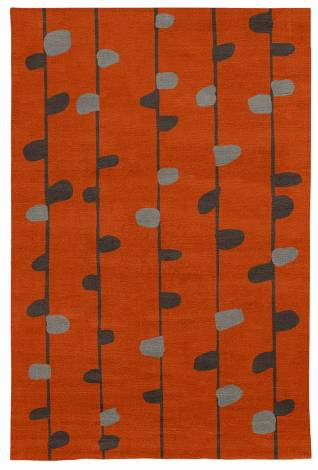 Judy Ross Hand-Knotted Custom Wool Calendar Rug coral/graphite/silver