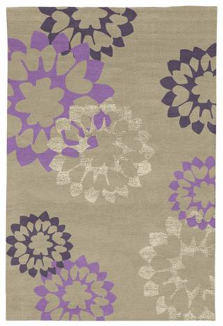 Judy Ross Hand-Knotted Custom Wool Carousel Rug oyster/grape/lilac/oyster silk