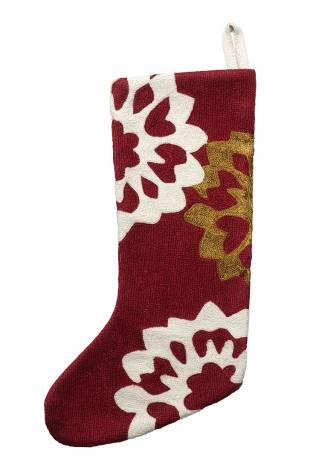Judy Ross Textiles Hand-Embroidered Chain Stitch Carousel Stocking rouge/cream/gold rayon