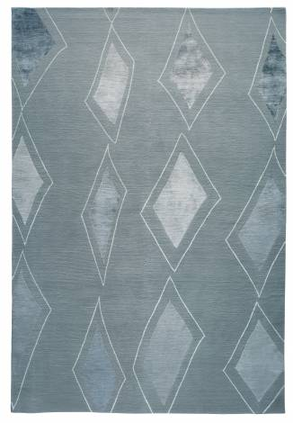 Judy Ross Hand-Knotted Custom Wool Cascade Rug powder blue/powder blue silk
