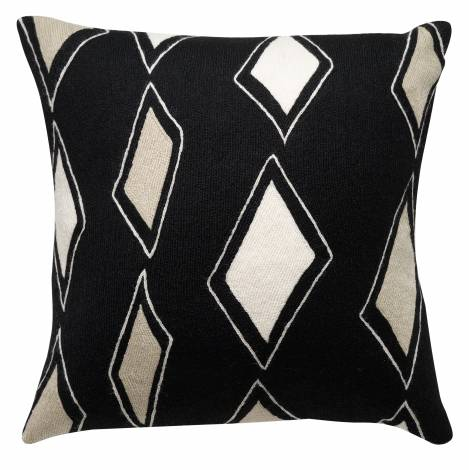 Judy Ross Textiles Hand-Embroidered Chain Stitch Cascase Throw Pillow black/oyster/cream