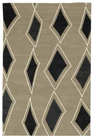 Judy Ross Hand-Knotted Custom Wool Cascade Rug oyster/black/cream silk