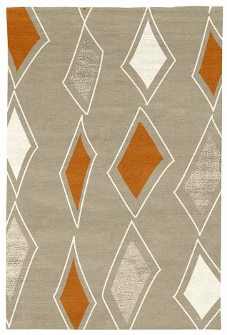 Judy Ross Hand-Knotted Custom Wool Cascade Rug oyster/cream/melon/oyster silk