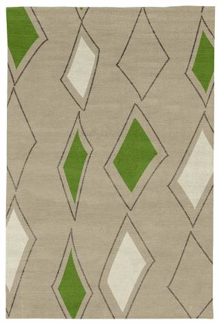Judy Ross Hand-Knotted Custom Wool Cascade Rug oyster/iron silk/lime/parchment