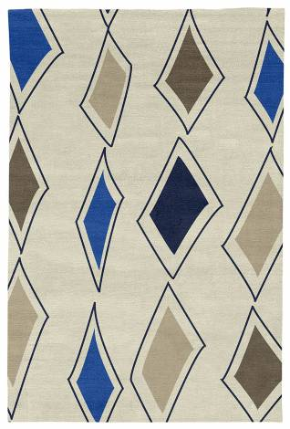 Judy Ross Hand-Knotted Custom Wool Cascade Rug parchment/midnight/marine/iron/oyster