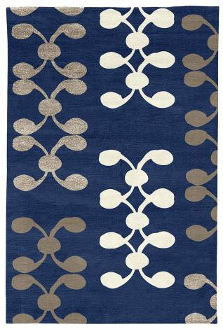 Judy Ross Hand-Knotted Custom Wool Celine Rug robin/pewter silk/cream silk/pewter