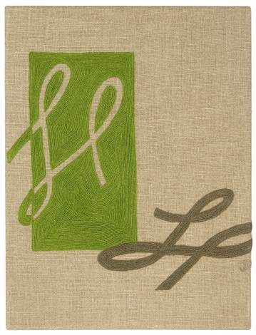 Judy Ross Textiles Hand-Embroidered Linen Cheerleader Panel lime/grey