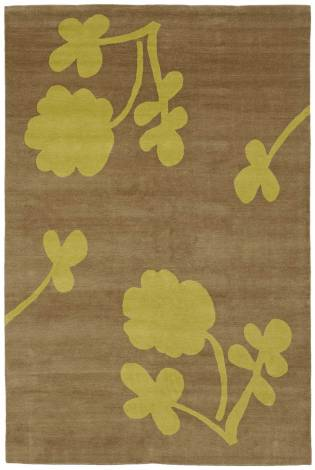 Judy Ross Hand-Knotted Custom Wool Clover Rug taupe/pollen