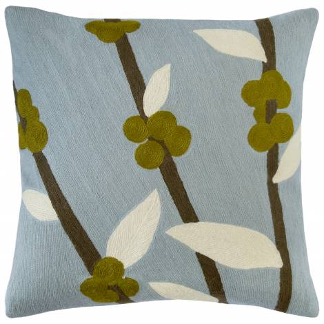 Judy Ross Textiles Hand-Embroidered Chain Stitch Coffeetree Celadon Throw Pillow cream/kiwi/fig