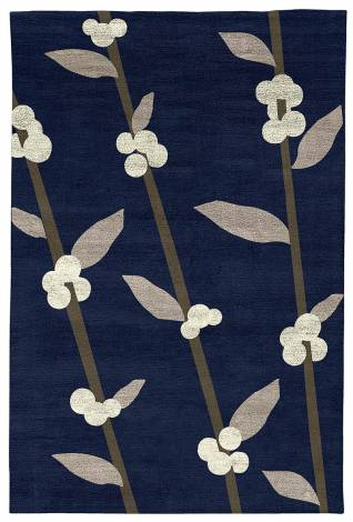 Judy Ross Hand-Knotted Custom Wool Coffee Tree Rug midnight/smoke silk/parchment silk/iron