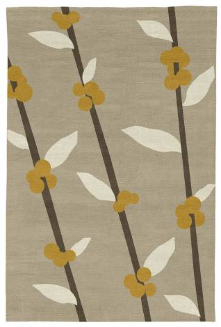 Judy Ross Hand-Knotted Custom Wool Coffee Tree Rug oyster/parchment/curry/iron