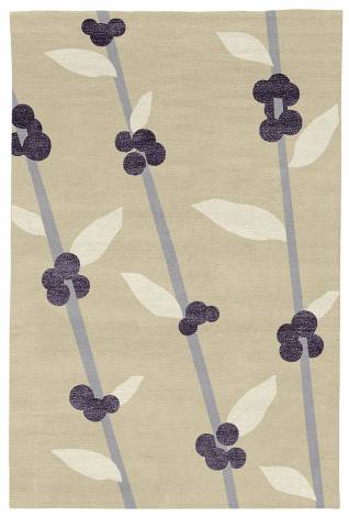 Judy Ross Hand-Knotted Custom Wool Coffee Tree Rug wheat/ice/grape silk/cream